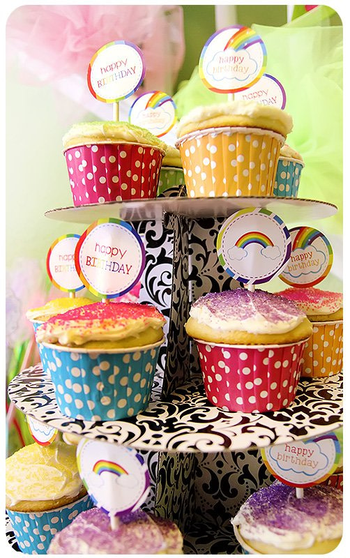 rainbow birthday party theme candy table